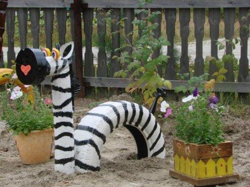 Идея для сада из шин своими руками